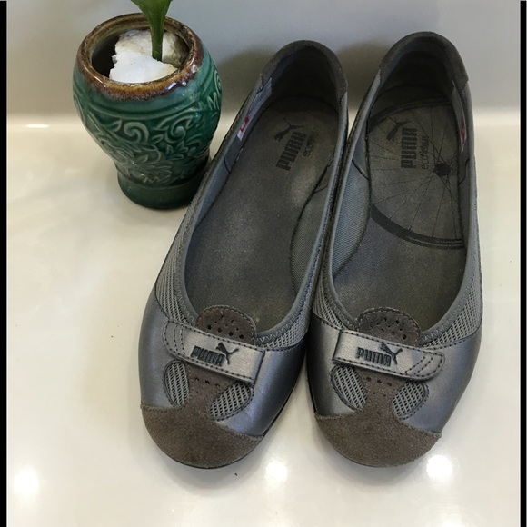ZANDY Mesh Metallic Gray Suede Leather Flats